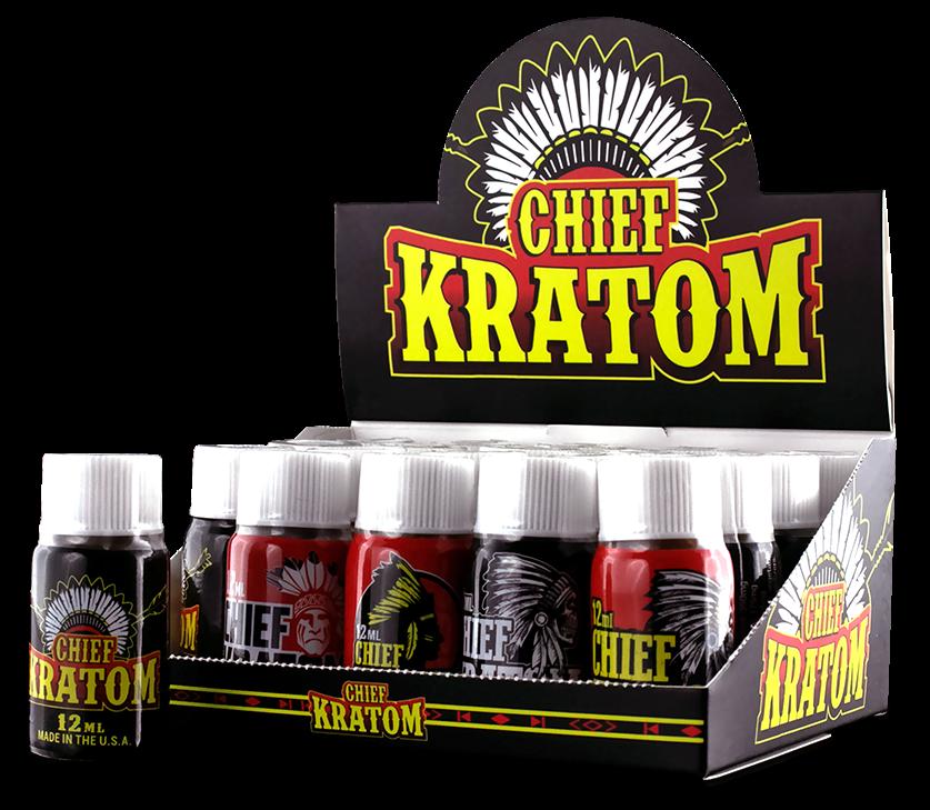 Chief Kratom bottles inside boxed display - open
